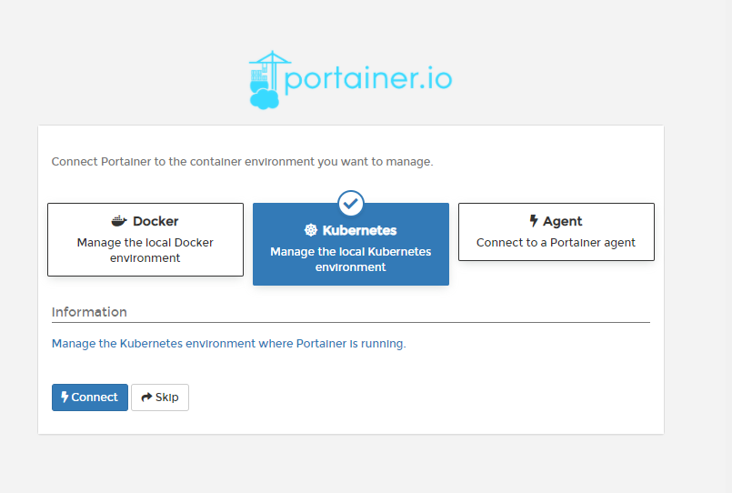 Configuring Portainer to use Docker over Kubernetes