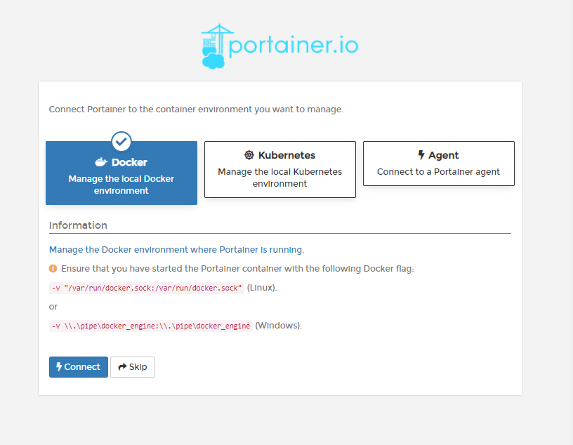 Selecting Portainer to use Docker