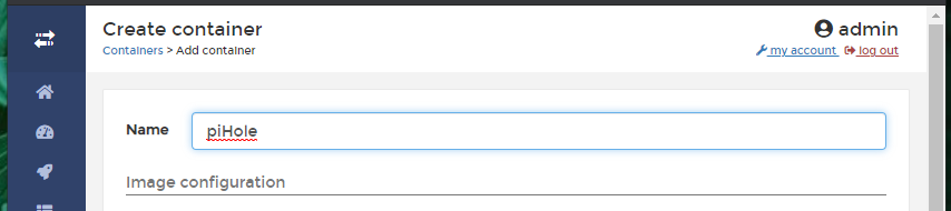 Create container name field