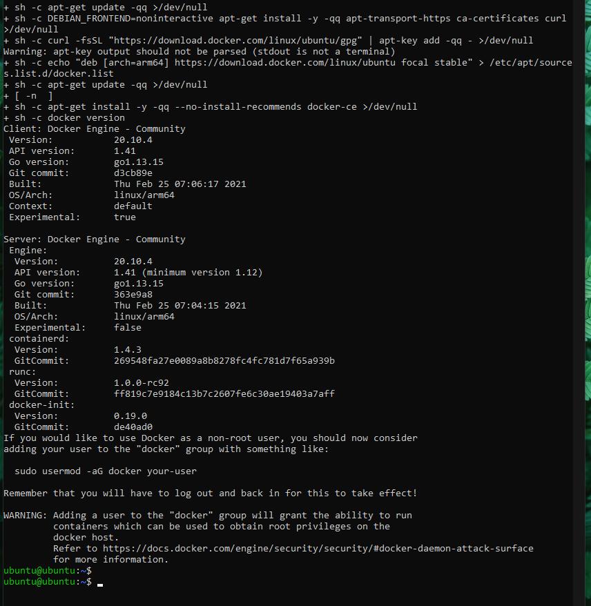 Docker convenience script install output
